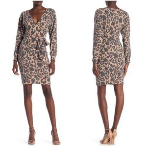 Bailey Blue Leopard Faux Wrap Dress Knit Cheetah
